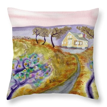 Cottage By The Purple Trees Throw Pillow