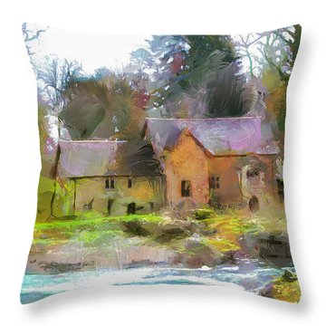 Throw Pillow featuring the painting Cottage By The River by Wayne Pascall