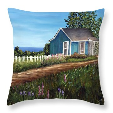 Cottage By The Sea Throw Pillow by Helen Eaton