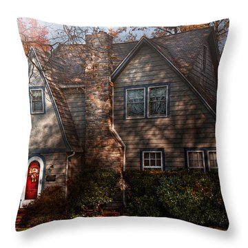 Cottage - Cranford Nj - Autumn Cottage  Throw Pillow by Mike Savad