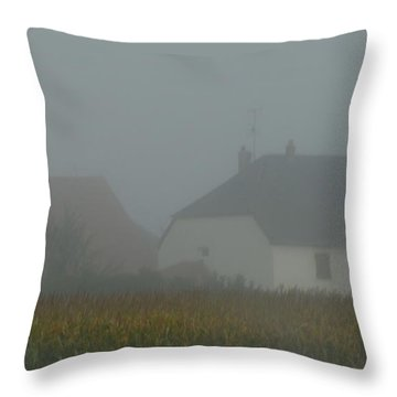 Cottage In Mist Throw Pillow