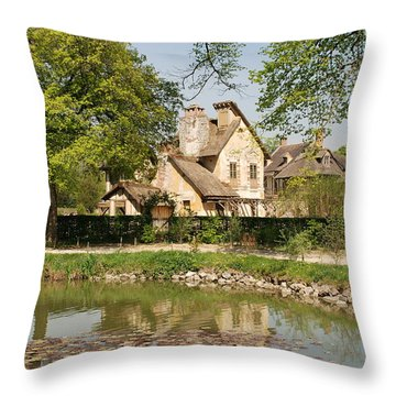Throw Pillow featuring the photograph Cottage In The Hameau De La Reine by Jennifer Ancker