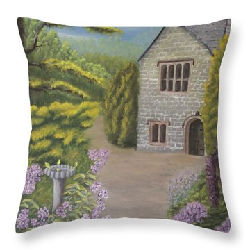 Cottage In The Woods Throw Pillow by Lou Magoncia