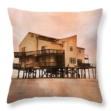 Cottage Of The Past Throw Pillow by Betsy Knapp