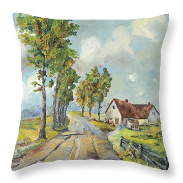 Throw Pillow featuring the painting Cottage On Poplar Lane by Mary Ellen Anderson