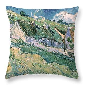 Cottages At Auvers Sur Oise Throw Pillow by Vincent Van Gogh