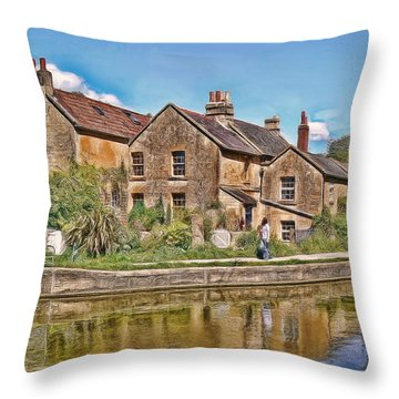 Cottages At Avoncliff Throw Pillow