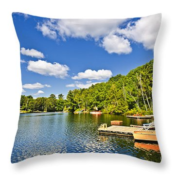 Cottages On Lake With Docks Throw Pillow by Elena Elisseeva