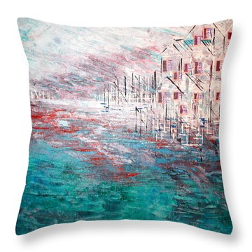 Cottages On The Bay  Throw Pillow