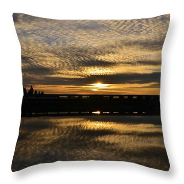 Cotton Ball Clouds Sunset Throw Pillow