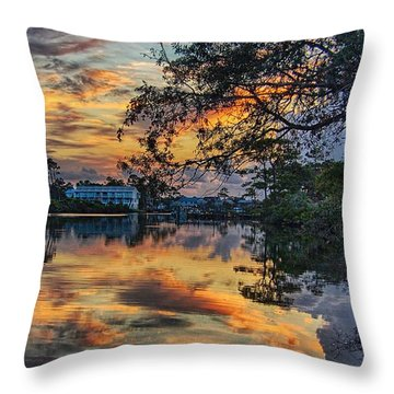 Throw Pillow featuring the digital art Cotton Bayou Sunrise by Michael Thomas