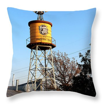 Cotton Belt Route Water Tower In Grapevine Throw Pillow