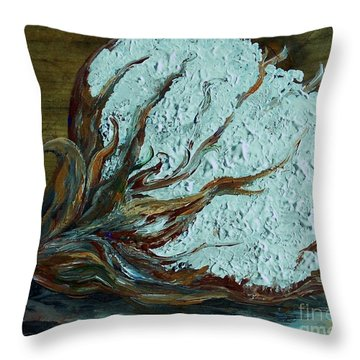 Cotton Boll On Wood Throw Pillow by Eloise Schneider