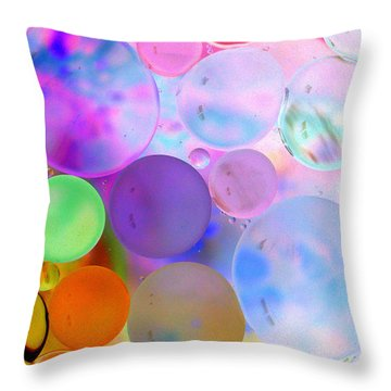 Throw Pillow featuring the photograph Cotton Candy Bubbles by Christine Ricker Brandt