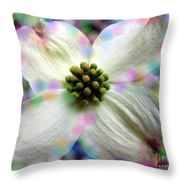 Cotton Candy Flower Throw Pillow by Renee Trenholm