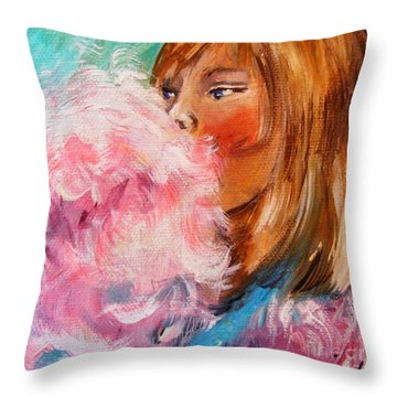 Throw Pillow featuring the painting Cotton Candy by Karen  Ferrand Carroll