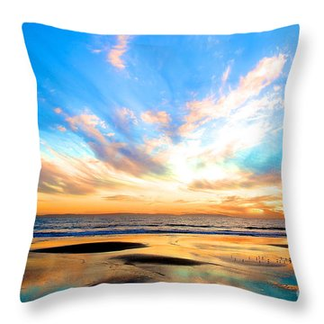 Cotton Candy Sunset Throw Pillow by Margie Amberge