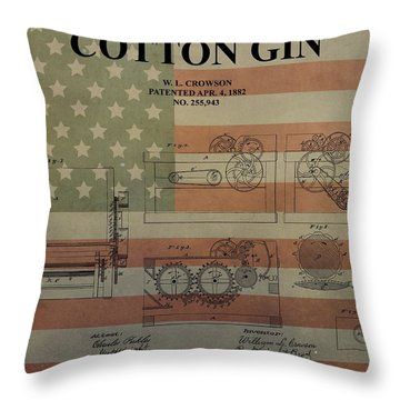 Cotton Gin Patent Aged American Flag Throw Pillow