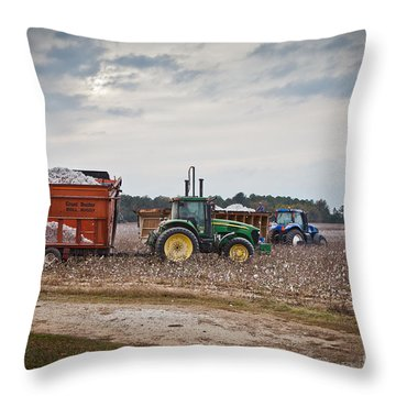 Cotton Harvest With Machinery In Cotton Field Throw Pillow