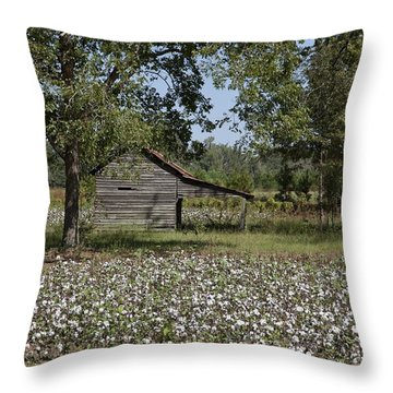 Cotton In Rural Alabama Throw Pillow