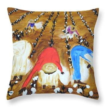 Cotton Picking People Throw Pillow