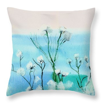 Cotton Poppies Throw Pillow by Anil Nene
