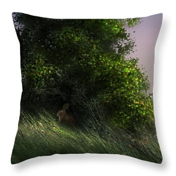 Cottontail Throw Pillow by Aaron Blaise