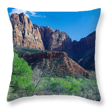 Cottonwood Trees And The Watchman, Zion Throw Pillow by Panoramic Images