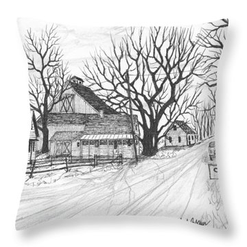 Throw Pillow featuring the drawing Cottonwood Unincorporated by Jack G  Brauer