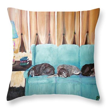 Couch Potatoes Throw Pillow by Gail Daley