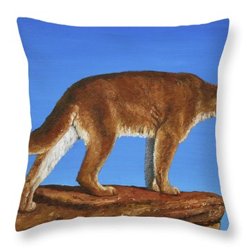 Cougar Cliff Throw Pillow by Crista Forest