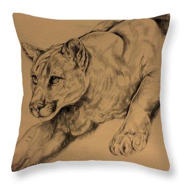 Cougar Throw Pillow by Derrick Higgins