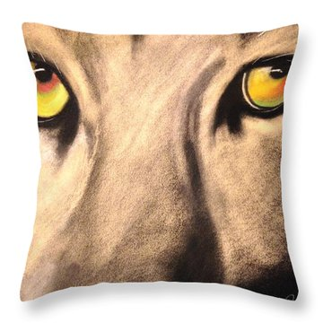 Cougar Eyes Throw Pillow by Renee Michelle Wenker