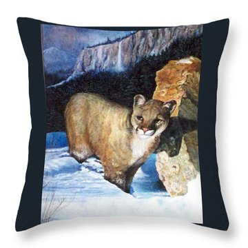 Cougar In Snow Throw Pillow