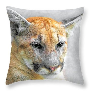 Cougar Throw Pillow by Marion Johnson