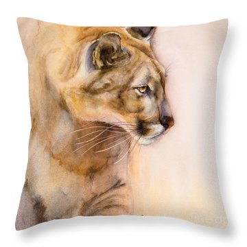 Throw Pillow featuring the painting Cougar On The Prowl by Bonnie Rinier