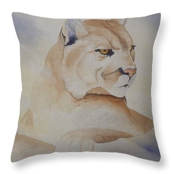 Cougar On Watch Throw Pillow