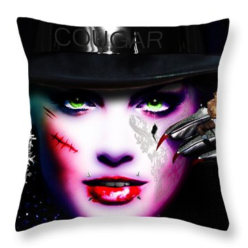 Cougar Rainbow Throw Pillow