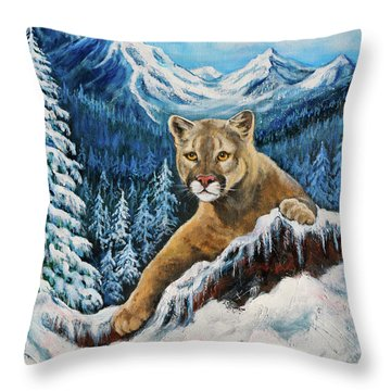 Throw Pillow featuring the painting Cougar Sedona Red Rocks  by Bob and Nadine Johnston