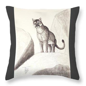 Cougar's Gaze Throw Pillow