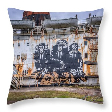 Council Of Monkeys Throw Pillow