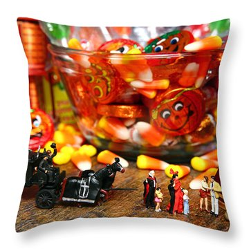 Count And Countess Dracula Inadvertently Took Their Daughters Trick Or Treating At The Van Helsings Throw Pillow by Lon Casler Bixby