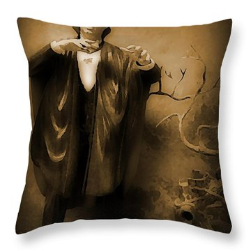 Count Dracula In Sepia Throw Pillow by John Malone