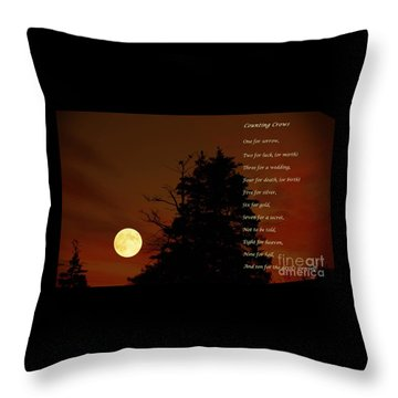 Counting Crows - Old Superstitious Nursery Rhyme Throw Pillow by Barbara Griffin