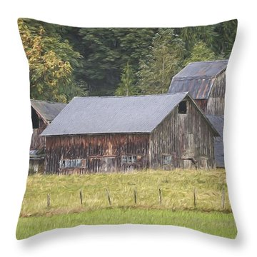 Throw Pillow featuring the painting Country Art - Rustic Old Barns With Cow In The Pasture by Jordan Blackstone