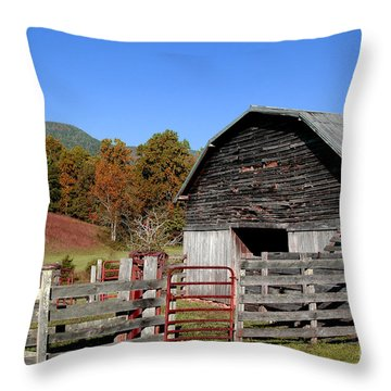 Country Barn Throw Pillow by Jeff McJunkin