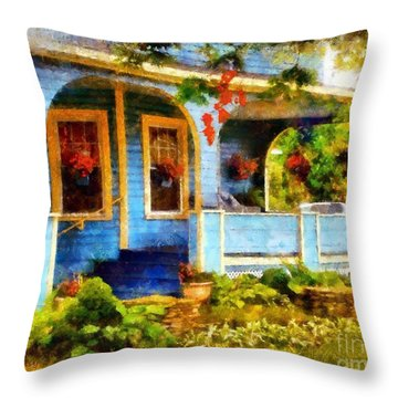 Country Blue Autumn Porch Throw Pillow