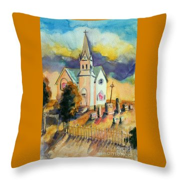 Throw Pillow featuring the painting Country Church At Sunset by Kathy Braud