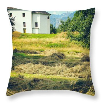 Throw Pillow featuring the photograph Country Church With Hay by Silvia Ganora