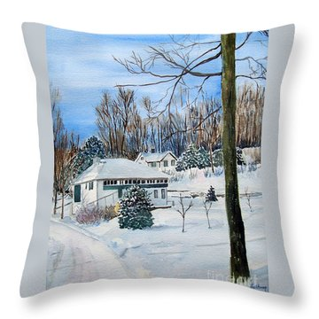 Country Club In Winter Throw Pillow